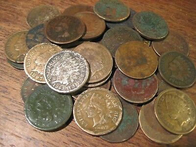 34 INDIAN HEAD PENNIES SET CENTS 1860s 1870s 1880s 1890s 1900s COINS LOWER GRADE