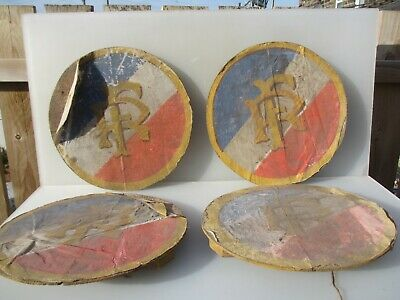"""Antique French Fabric Town Hall Plaque Church Banner Crest on Wooden Board 16""""W"""