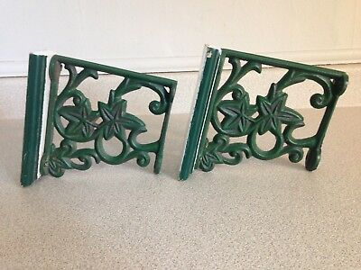 2 Vintage Cast Iron Shelf Brackets, Salvaged Rustic Decor