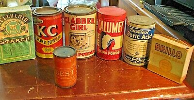Vintage 7 OLD PRODUCTS Cans Boxes Great Graphics Kitchen Display Must See