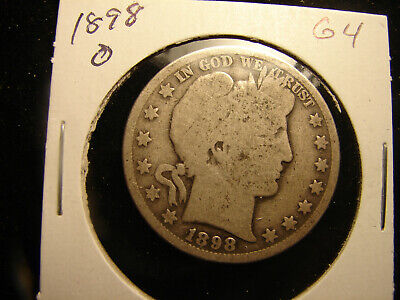 1898-O Barber Half Dollar, Circulated and ungraded, as pictured.