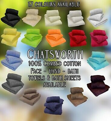 CHATSWORTH 100% Cotton Soft 600GSM Towel Set, - 17 Colours Available, All Sizes
