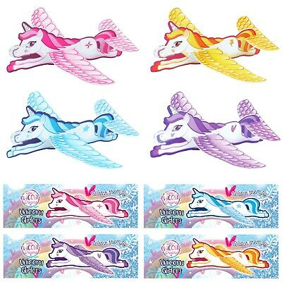 1/6/12/24/36/48 Kids Flying Unicorn Glider Planes Party Bag Favour Filler Toy