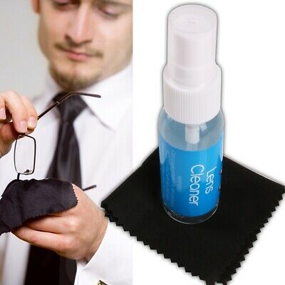 30ml LENS CLEANER & CLOTH SET Microfiber Wipe Clean Dust Grime Grease Spectacles