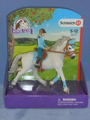 NEW Schleich Pony Club Horse Tournament Rider Stable Set Tack Hay net inc 04231