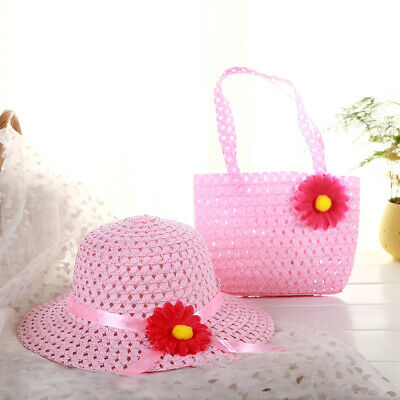 Summer Sun Hat Girls Kids Straw Cap Beach Hats Flower Tote Handbag Bags Suit