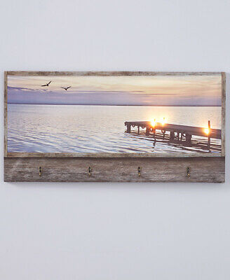 The Lakeside Collection Lighted Canvas Wall Art with Hooks - Sunset Beach