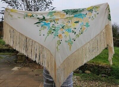 vintage 70s silk piano shawl floral bird batik hand painted signed