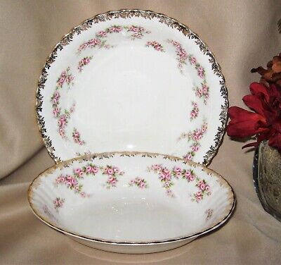 Royal Albert - Dimity Rose - Oval and Round Vegetable Bowls (2)