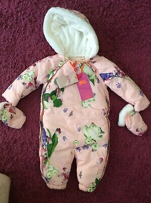 Ted Baker Baby Girls Pink Floral Snowsuit And Mitts Age 9-12 Months Bnwt £55