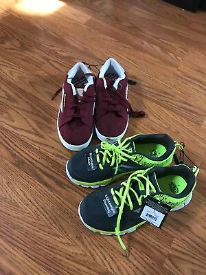 2 PAIRS BRAND NEW BOYS SIZE 5 ATHLETIC WORKS / AIR SPEED TENNIS SHOES (men's)