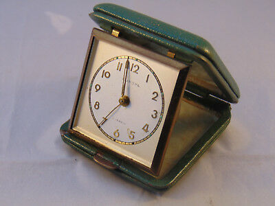 Vintage Europa 2 Jewels Travelling Alarm Clock Green Leather Case (Spares/Repair