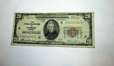 $20 National Currency Federal Bank of Richmond Virginia 1929 .........2-15-  27