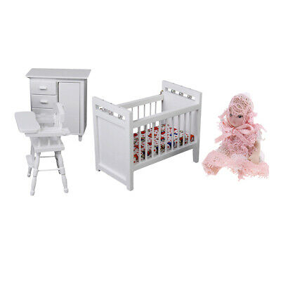 1/12 Dollhouse Baby Kids Bedroom Furniture Bed Chair Cabinet Porcelain Doll