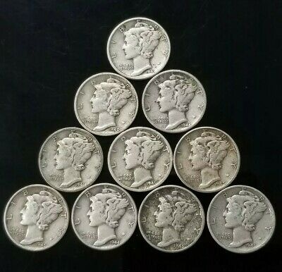 1940's Mercury Dimes Lot of 10 - 90% Silver - US Coins [SC7594]