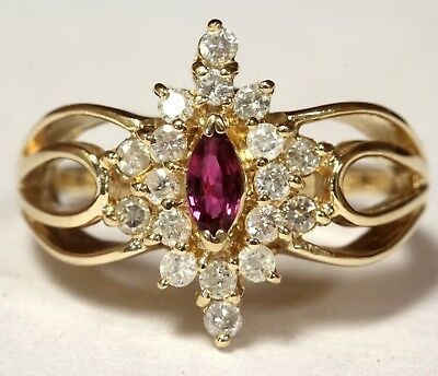 14k yellow gold .36ct I3 L round diamond spinel cluster ring 4.7g estate vintage