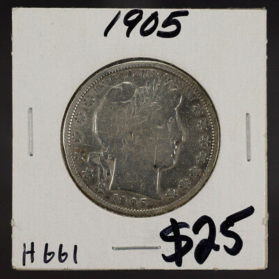 1905 50c SILVER BARBER HALF DOLLAR LOT#H661