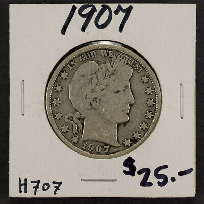 1907 50c SILVER BARBER HALF DOLLAR LOT#H707
