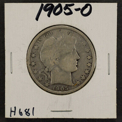 1905-O 50c SILVER BARBER HALF DOLLAR LOT#H681