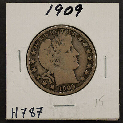 1909 50c SILVER BARBER HALF DOLLAR LOT#H787