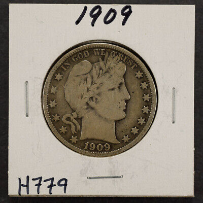 1909 50c SILVER BARBER HALF DOLLAR LOT#H779