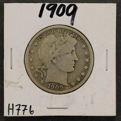 1909 50c SILVER BARBER HALF DOLLAR LOT#H776