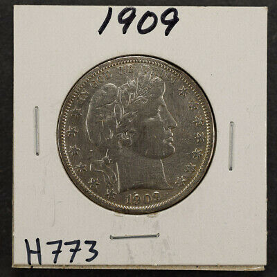 1909 50c SILVER BARBER HALF DOLLAR LOT#H773
