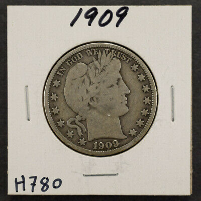 1909 50c SILVER BARBER HALF DOLLAR LOT#H780