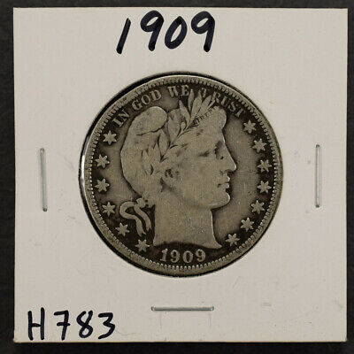 1909 50c SILVER BARBER HALF DOLLAR LOT#H783