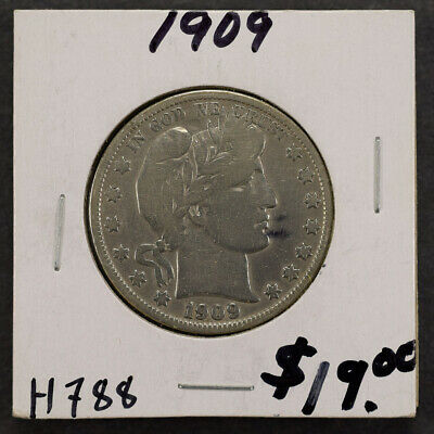 1909 50c SILVER BARBER HALF DOLLAR LOT#H788