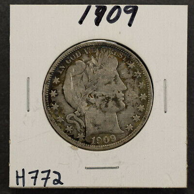 1909 50c SILVER BARBER HALF DOLLAR LOT#H772