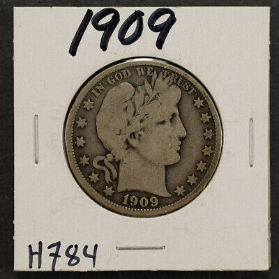 1909 50c SILVER BARBER HALF DOLLAR LOT#H784