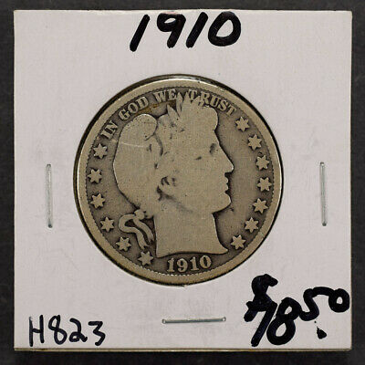 1910 50c SILVER BARBER HALF DOLLAR LOT#H823