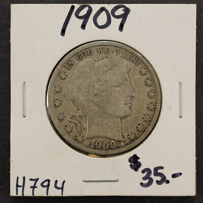 1909 50c SILVER BARBER HALF DOLLAR LOT#H794