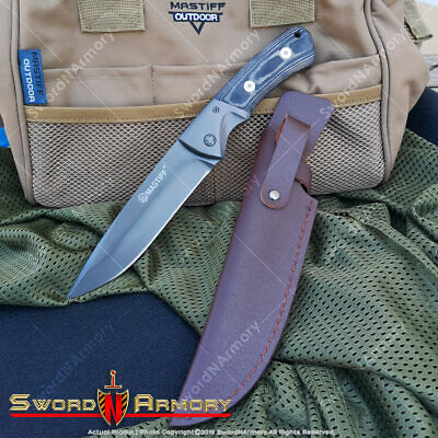 Tactical Fixed Blade Knife 7CR17MOV Steel Micarta Handle Geniue Leather Sheath