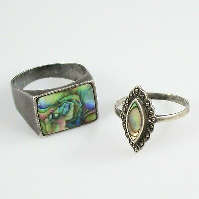 Abalone Ring Lot of 2 Vintage Sterling Silver Signed 9.8 g | Size 7.25 & 9.75