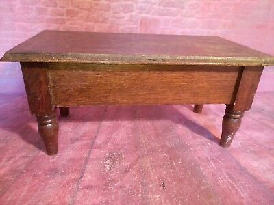 Antique Old Vintage Wooden Foot Stool Table Hinged Lid Display apprentice piece