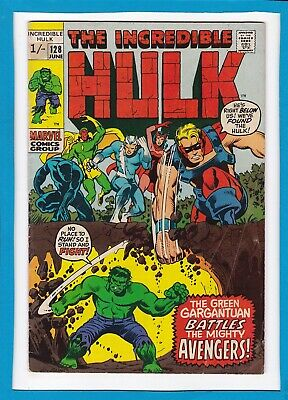 "Incredible Hulk #128_June 1970_Fine+_""the Hulk Battles The Mighty Avengers""_Uk!"