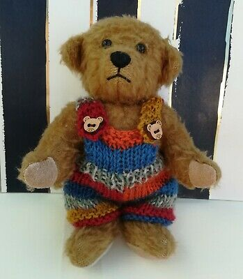 "**BEAR KNITS** Hand Knitted teddy clothes dungarees to fit a 6""  teddy"