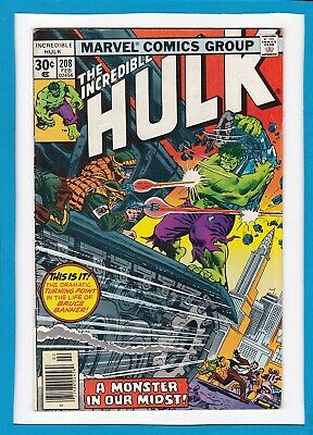 "Incredible Hulk #208_February 1977_Vf Minus_""a Monster In Our Midst""_Bronze Age!"