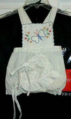 Vintage Unworn 2 Pc Baby or Doll Sun Diaper Judy Phillipine Butterfly Romper Hat