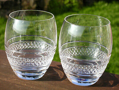 Matching Pair Of Large Irish Waterford Crystal Heavy Whisky Tumblers Perfect