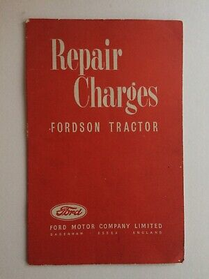 Original 1942 Fordson Tractor Repair Charges booklet