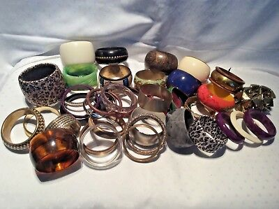 Costume Jewellery Job Lot of 40 Fashion Statement Bracelets Bangles