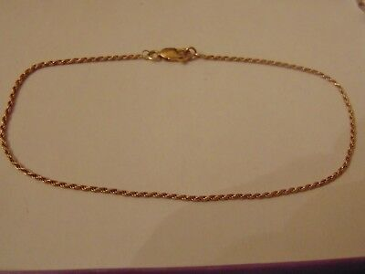 """Solid 9ct Gold Rope Chain Ankle Bracelet Anklet 2.1g 10"""" GIFT BOX Hallmarked"""