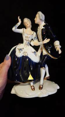 Royal Dux Bohemia Figurine Dancing Couple Royal Blue And Gold.