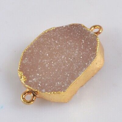 Natural Agate Druzy Geode Connector Gold Plated H130701