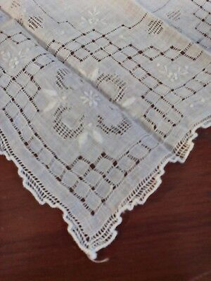 Vintage Madeira Linen Wedding Hanky Pale Gray/ ivory Embroidery