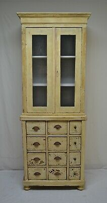 Antique Painted Pine Twelve Drawer Apothecary Cupboard