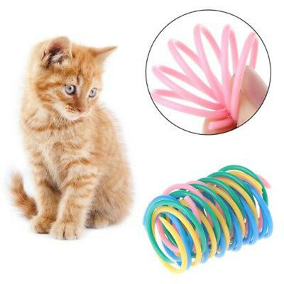 5X Cat Toys Colorful Spring Plastic Bounce Pet Kitten Random Color InteractiveTB
